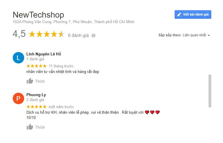 Feedback của khách hàng tại Newtechshop