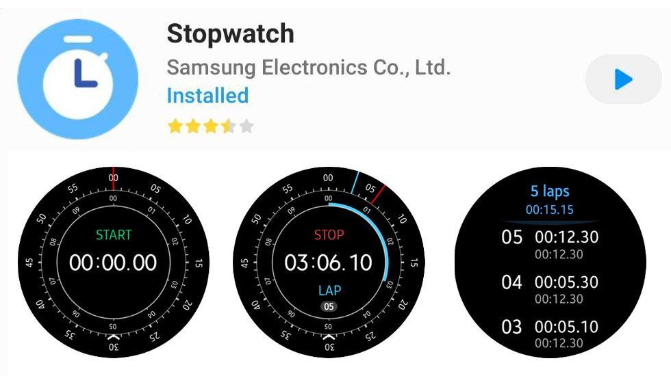 App Galaxy Watch - Stopwatch