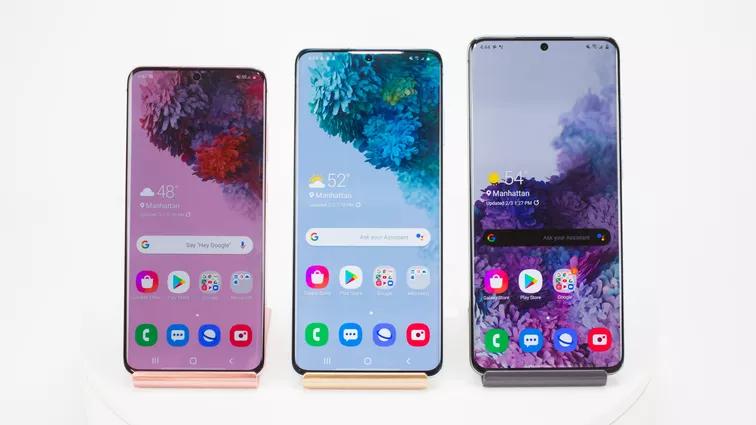 """Nhà Samsung tiếp tục """"oanh tạc"""" danh sách này với 3 dòng Galaxy S20, S20 Plus và S20 Ultra. Sarah Tew/CNET"""