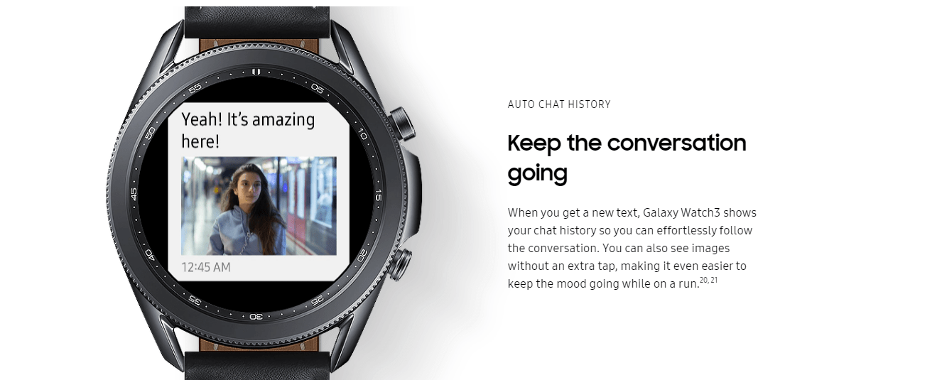 Liên tục trò chuyện nhờ vào khả năng kết nối Internet của Galaxy Watch 3 bản LTE @samsung.com