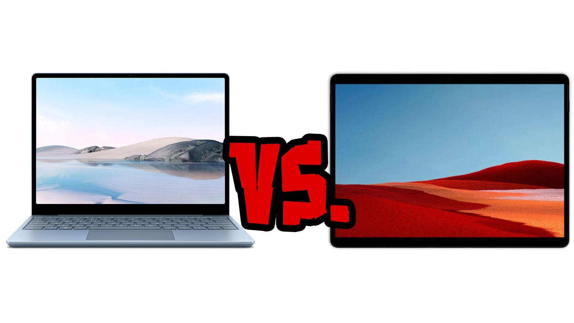 so sánh 2 dòng máy Surface Laptop Go vs Surface Pro X