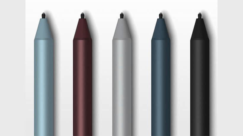 Surface Pen bao gồm 5 màu: Bạch kim, đen, đỏ tía, xanh coban, xanh nước biển (Nguồn: The Verge)