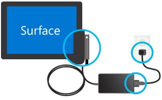Cách cắm đầu sạc Surface (Nguồn: Microsoft)