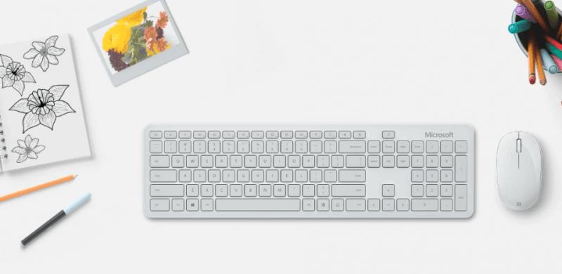 Bộ bàn phím, chuột Bluetooth Microsoft xám trắng 8