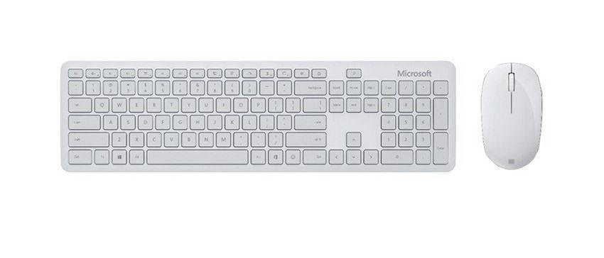 Bộ bàn phím, chuột Bluetooth Microsoft xám trắng 10
