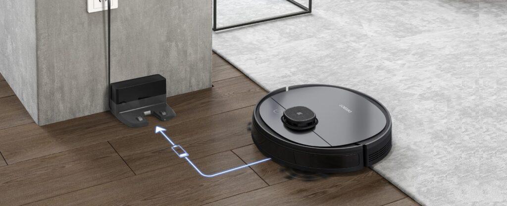 Robot hút bụi lau nhà Ecovacs Deebot Ozmo 950cho dung lượng pin lên đến 5200mAh cho thời gian làm sạch là 200 phút sau 1 lần sạc đầy