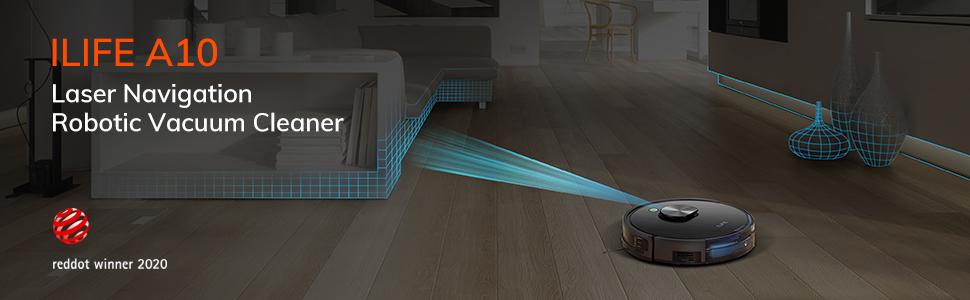 Cảm biến laser của robot hút bụi ILIFE A10 cho phép phát hiện các chướng ngại vật và chống rơi tại cầu thang một cách dễ dàng